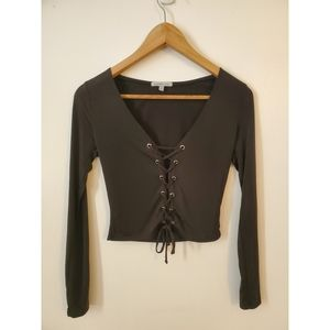 Black tie up cropped long sleeve